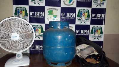 Objetos do furto recuperados pela PM em Augustinópolis