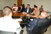Coronel Leandro na reunião com membros do Comitê do Fogo e o conselheiro do TCE, Wagner Praxedes