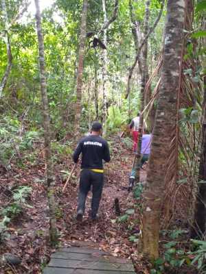 Brigadistas parceiros trabalham na limpeza das trilhas