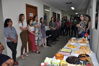 Momento de reflexão sobre o Dia da Mulher, conduzida pela servidora, Vera Lúcia