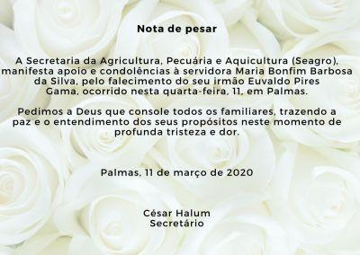 Nota de pesar A Secretaria da Agricultura, Pecuária e Aquicultura (Seagro), manifesta apoio e condolências à servidora Maria Bonfim Barbosa da Silva, pelo falecimento do seu irmão Euvaldo Pires Gama,  (1)_400.jpg