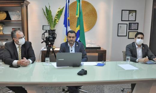 O vice-governador do Estado do Tocantins, Wanderlei Barbosa, participou na tarde desta quarta-feira, 25, de uma videoconferência com governadores de todo o Brasil