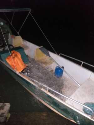 A operação no lago apreendeu 470 metros de redes de pesca de diversas malhas