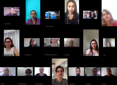 Parte dos servidores e representantes que participaram da videoconferência