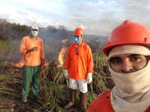 Agentes ambientais fazem queimas controladas na região do Pátio Multimodal em Luzimangues/Porto Nacional