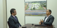 Presidente Cláudio Alex é recebido pelo diretor do Sest/Senat Palmas, Mauro Carvalho