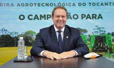Na live da abertura oficial, o governador Mauro Carlesse recebeu, de forma virtual, a ministra da Agricultura, Tereza Cristina; o secretário de Agricultura, César Halum; e o presidente da Embrapa, Celso Moretti