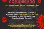 Prédio da sede da Seciju será desinfetado como medida de prevenção a Covid-19