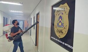 Sede da Secretaria da Segurança Pública passa por higienização de prevenção à Covid-19