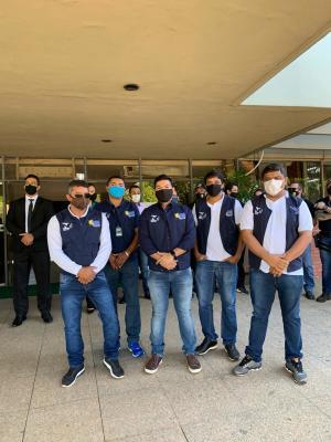 Equipe técnica da Metrologia Estadual em dia de Ação Educativa