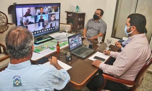 Secretário Thiago Dourado e equipe participam de videoconferência com a ministra Tereza Cristina