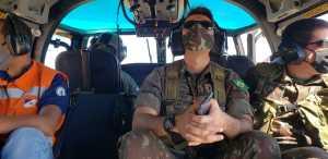 Parceiros como o Exército Brasileiro e Defesa Civil estadual avaliam áreas com incêndios florestais