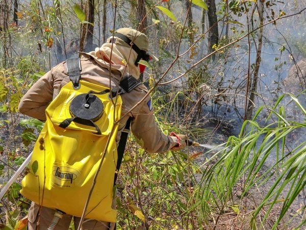 Bombeiro militar usa bomba costal no combate às chamas em Taquaruçu