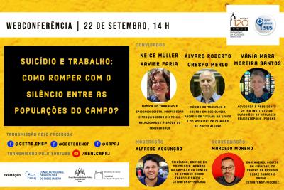 O Centro de Estudos sobre Saúde e Tabaco, da Escola Nacional de Saúde Pública Sérgio Arouca (ENSP/Fiocruz) promoverá na próxima terça-feira (22/09), às 14h, a web conferência Suicídio e Trabalho: como romper com o silêncio entre as populações do campo. A transmissão será feita pelo canais do Facebook do Cetab/ENSP (@cetab.ensp), do Cesteh/ENSP (@cestehensp) e do Conselho Regional de Psicologia do Rio de Janeiro (@crprj). A transmissão ocorrerá também no canal do YouTube do CRP RJ (www.youtube.com/realcrprj).