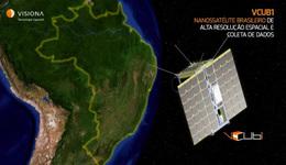 Concepção artística do nanossatélite VCUB-1, que será lançado em 2021