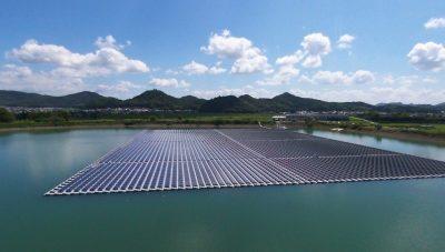 modelo de placas de energia solar flutuante