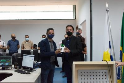 Anderson Menezes presidente da  Agência de Tecnologia da Informação do Município de Palmas (Agtec) e Thiago Maciel presidente da Agência de Tecnologia da Informação do Tocantins (ATI-TO)