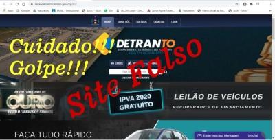 Detran-TO alerta: Golpistas usam site falso anunciando Leilão que já foi encerrado