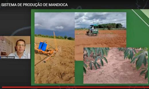 Gustavo Campos da Embrapa foi o primeiro palestrante a falar sobre o sistema de produção de mandioca