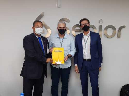 O Secretário Tom Lyra visitou a empresa em Blumenau-SC, no mês de outubro, na ocasião fez o convite para que os empresários viessem visitar o Tocantins
