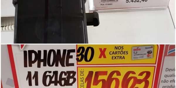 Os dois aparelhos celulares estavam com os preços mais alto