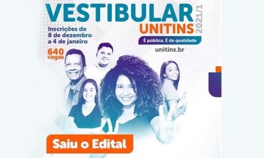 Inscrições do Vestibular 2021/1 da Universidade Estadual do Tocantins (Unitins) foram prorrogadas até o dia 11 de janeiro