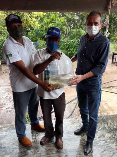 Moradores da região sudeste recebem alevinos para povoar as Barraginhas