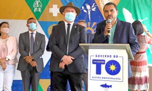 Governador Carlesse e o vice-governador Wanderlei Barbosa durante inauguração do novo prédio do Naturatins