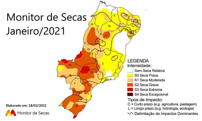Mapa do Monitor de Secas referente a janeiro de 2021
