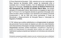 Nota emitida pelo FNDE em repúdio à PEC 186