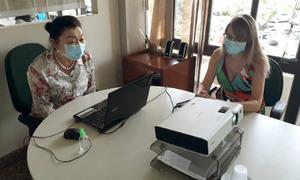 A secretária da Semarh, Miyuki Hyashida, conversou com os participantes sobre os benefícios do ICMS Ecológico