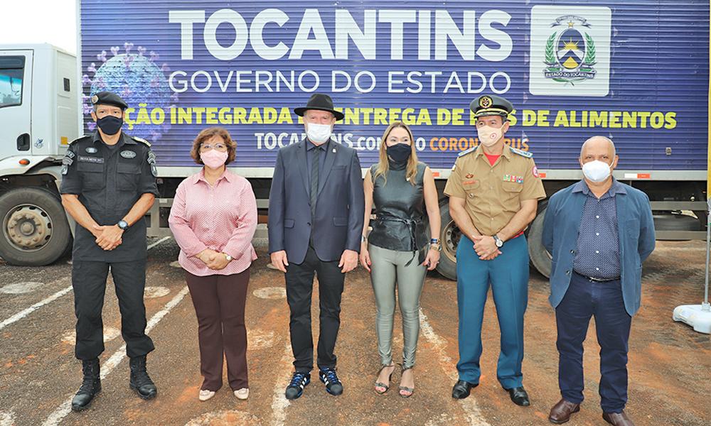 Entrega dos 120 mil testes rápidos, doados pela empresa Kenerson, ocorreu no Quartel do Comando Geral da Polícia Militar - Antônio Gonçalves/Governo do Tocantins