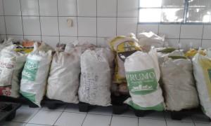 Os produtos adquiridos foram abóbora comum (31 kg), abobrinha (14 un), banana pacovan (78 kg), banana maçã (131 kg), milho verde (708 kg) e farinha branca e de puba