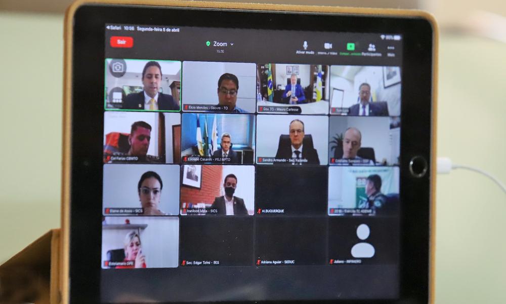 Membros do Comitê de Crise de Prevenção e Combate à Covid-19 reuniram-se nesta segunda-feira, 5 - Antônio Gonçalves/Governo do Tocantins