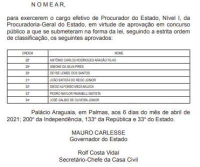 Publicação foi feita no Diário Oficial desta terça